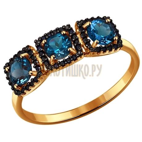 Кольцо из золота с топазами и фианитами 714084