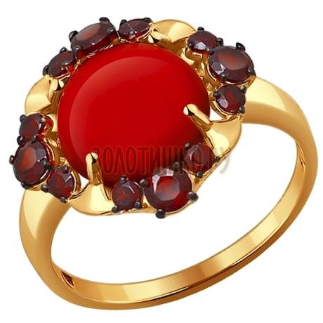 Кольцо из золота с гранатами и кораллом 714089