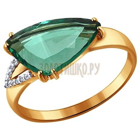 Кольцо из золота с кварцем и фианитами 714115