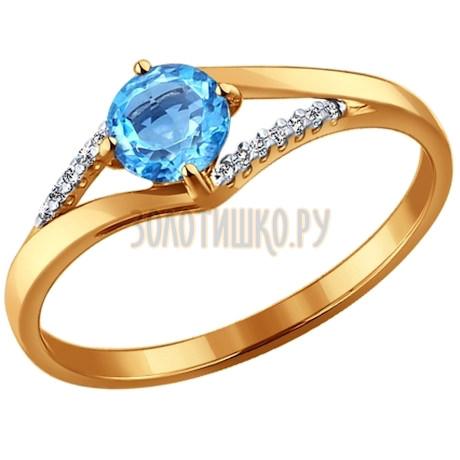 Кольцо из золота с топазом и фианитами 714118