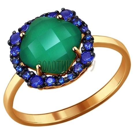 Кольцо из золота с зелёным агатом 714130