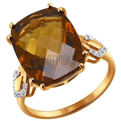 Кольцо из золота с красным кварцем и фианитами 714142