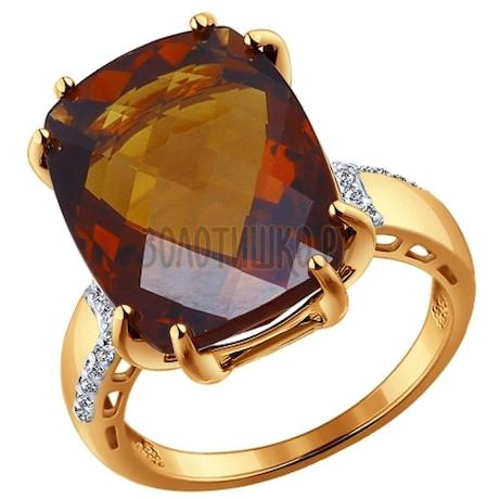 Кольцо из золота с красным кварцем и фианитами 714144
