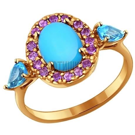 Кольцо из золота с миксом камней 714166