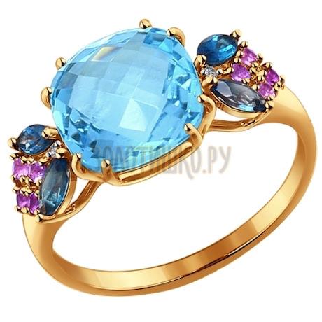 Кольцо из золота с миксом камней 714177