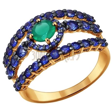 Кольцо из золота с зелёным агатом 714188