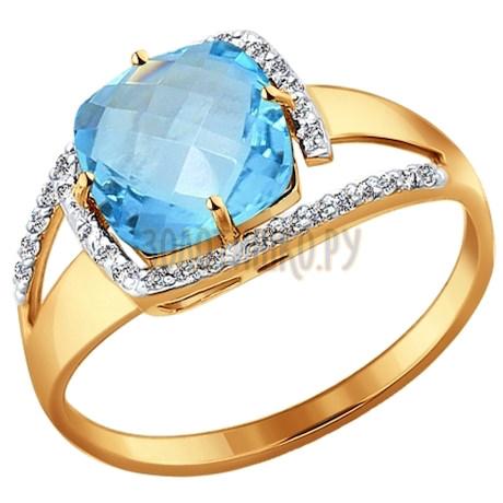 Кольцо из золота с топазом и фианитами 714200