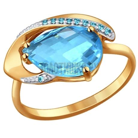 Кольцо из золота с топазом и фианитами 714208