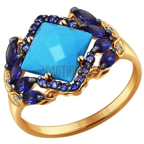 Кольцо из золота с миксом камней 714248