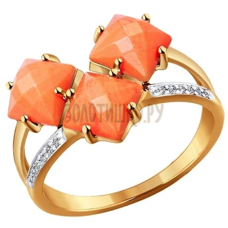 Кольцо из золота с кораллами и фианитами 714258