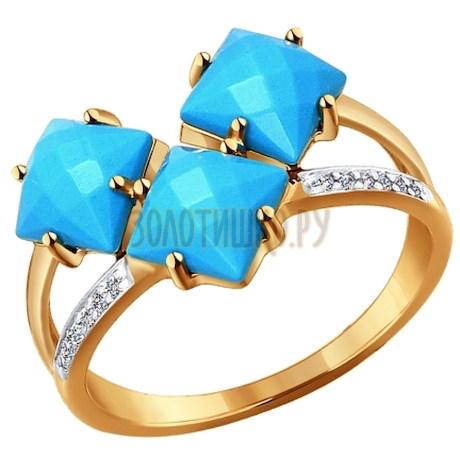Кольцо из золота с бирюзой и фианитами 714259