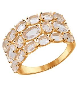 Кольцо из золота с горным хрусталем 714297
