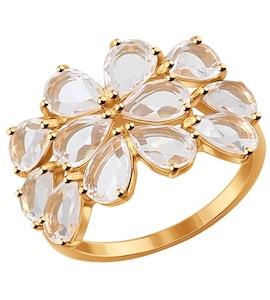 Кольцо из золота с горным хрусталем 714300