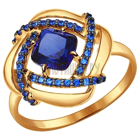 Кольцо из золота с корундом сапфировым (синт.) и фианитами 714326