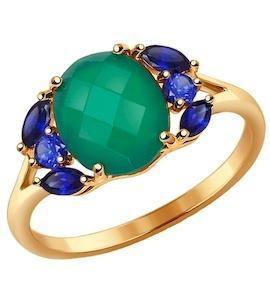 Кольцо из золота с зелёным агатом 714327