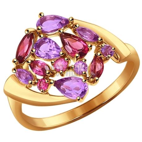 Кольцо из золота с полудрагоценными вставками 714341