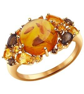 Кольцо из золота с полудрагоценными вставками 714349