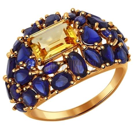 Кольцо из золота с полудрагоценными вставками 714362