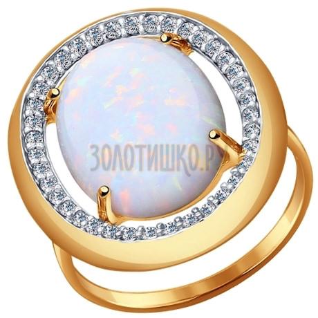 Кольцо из золота с опалом и фианитами 714366