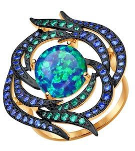 Кольцо из золота с зелеными и синими фианитами 714379