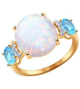 Кольцо из золота с миксом камней 714386