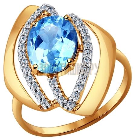Кольцо из золота с голубым топазом и фианитами 714394