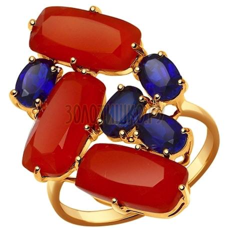 Кольцо из золота с полудрагоценными вставками 714425