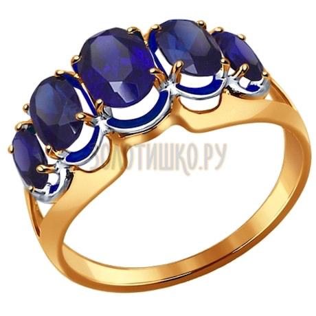Кольцо из золота с корундами сапфировыми (синт.) 714436