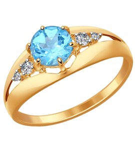 Кольцо из золота с голубым топазом и фианитами 714438