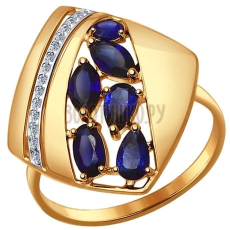 Кольцо из золота с корундами сапфировыми (синт.) и фианитами 714444