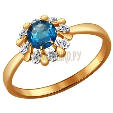 Кольцо из золота с топазом и фианитами 714450
