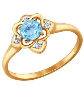 Кольцо из золота с голубым топазом и фианитами 714466