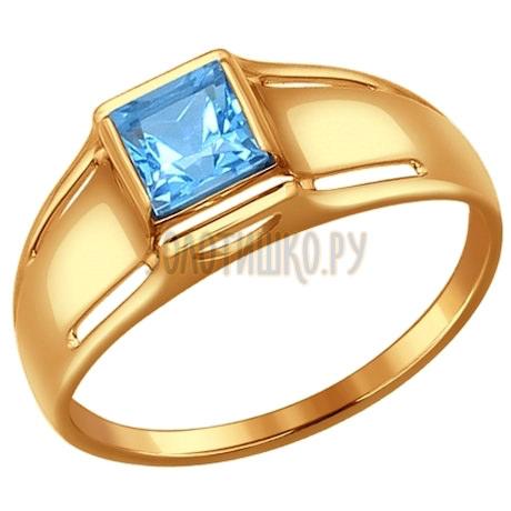 Кольцо из золота с голубым топазом 714472