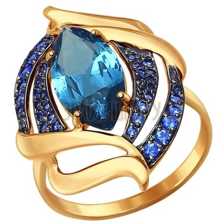 Кольцо из золота с ситаллом и синими фианитами 714482