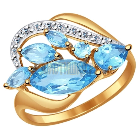 Кольцо из золота с голубыми топазами и фианитами 714499