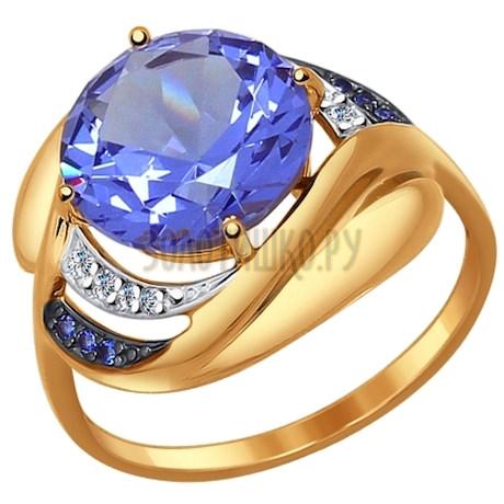 Кольцо из золота с ситаллом и синими и бесцветными фианитами 714512