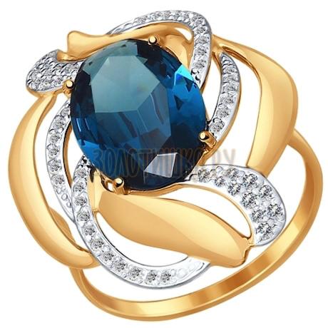 Кольцо из золота с ситаллом и фианитами 714513
