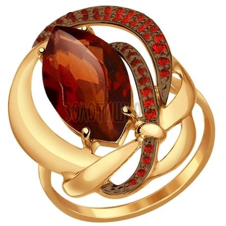 Кольцо из золота с ситаллом и красными фианитами 714529