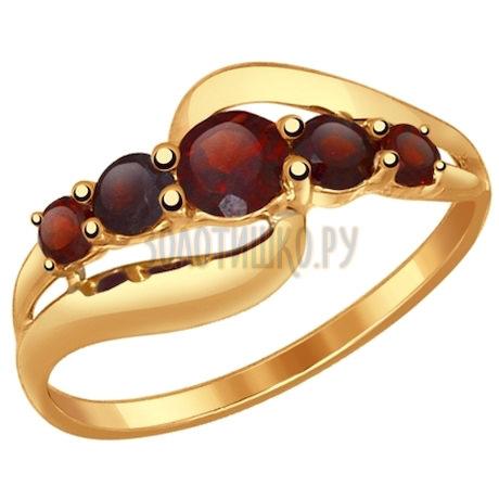 Кольцо из золота с гранатами 714536
