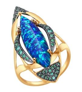 Кольцо из золота с зелеными фианитами 714542