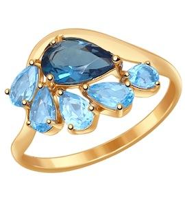 Кольцо из золота с топазами 714555