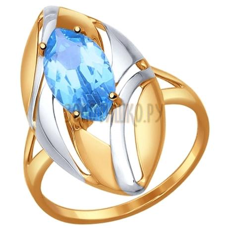 Кольцо из золота с голубым топазом 714575