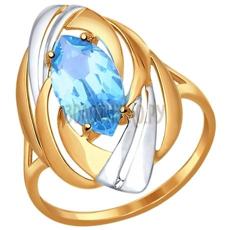 Кольцо из золота с голубым топазом 714581