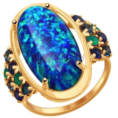 Кольцо из золота с полудрагоценными вставками 714586
