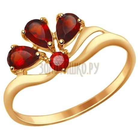 Кольцо из золота с гранатами 714594