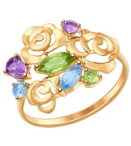 Кольцо из золота с полудрагоценными вставками 714598