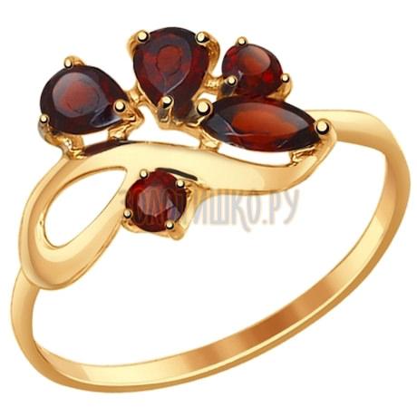 Кольцо из золота с гранатами 714609
