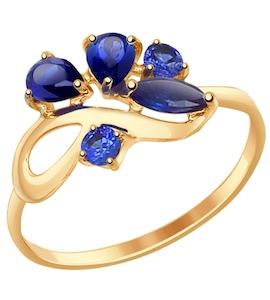 Кольцо из золота с корундами сапфировыми (синт.) 714610