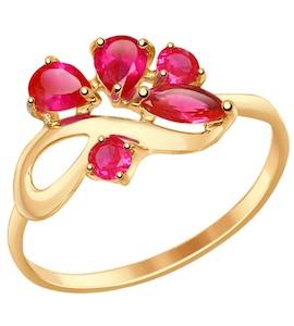 Кольцо из золота с корундами рубиновыми (синт.) 714612