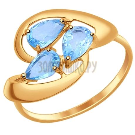 Кольцо из золота с голубыми топазами 714626